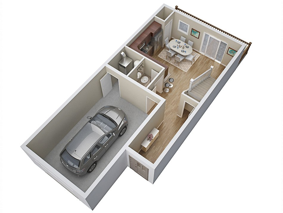 3D house floorplan with garage 1st floor by Tsymbals