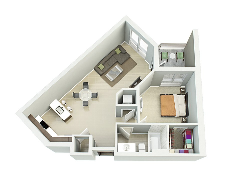 3D house floorplan with one bedroom and balkon, 2nd floor by Tsymbals