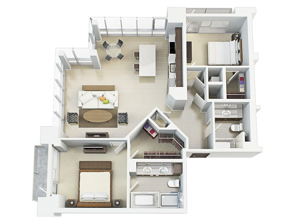 3D house floorplan with two bedroom, 1st floor by Tsymbals