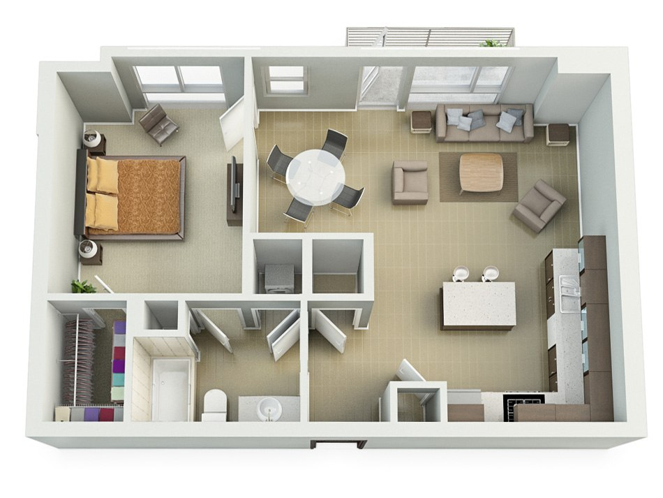 3D house floorplan with one bedroom, balkon and kitchen, 2nd floor by Tsymbals