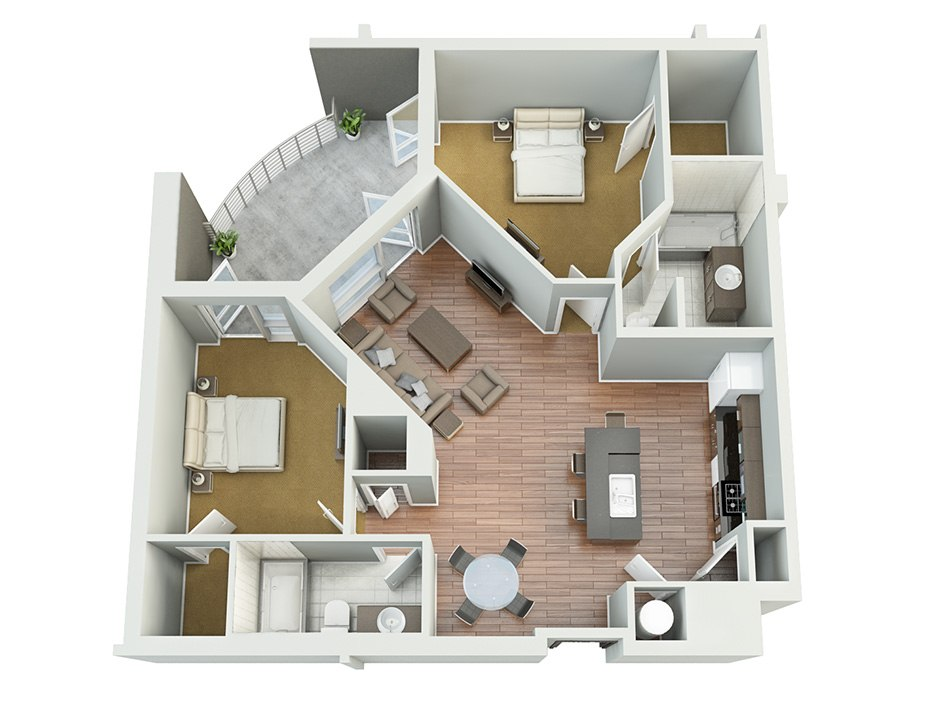 3D house floorplan with two bedroom, balkon and kitchen, 3d floor by Tsymbals
