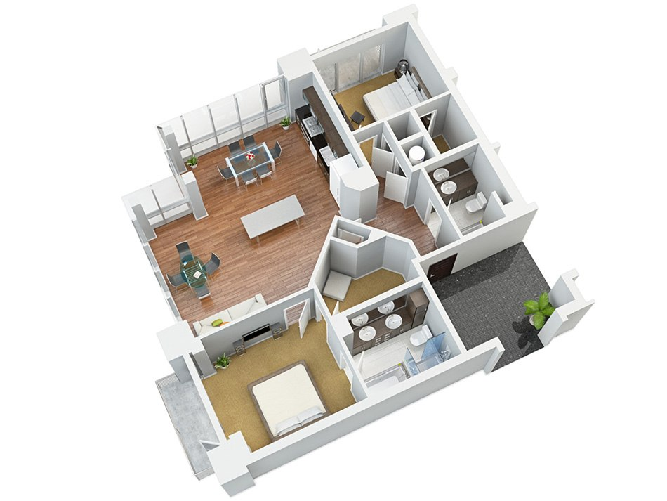 3D house floorplan with two bedroom, balkon and kitchen, 6x floor by Tsymbals