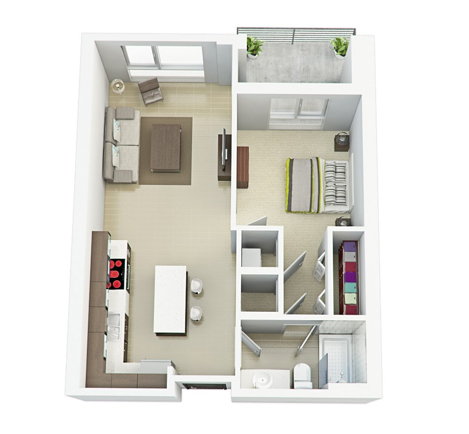 3D house floorplan with one bedroom, balkon and kitchen, 7 floor by Tsymbals