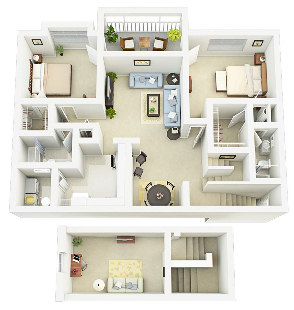 3D house floorplan with two bedroom and two wardrobe, 2nd floor by Tsymbals