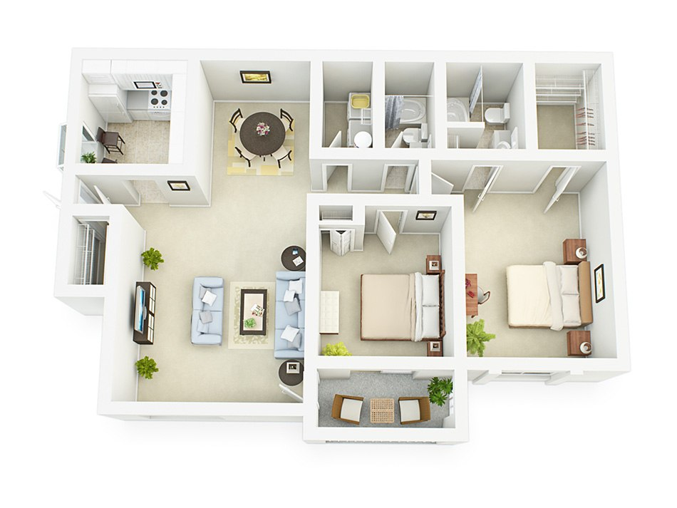 3D house floorplan with two bedroom and wardrobe, 2nd floor by Tsymbals