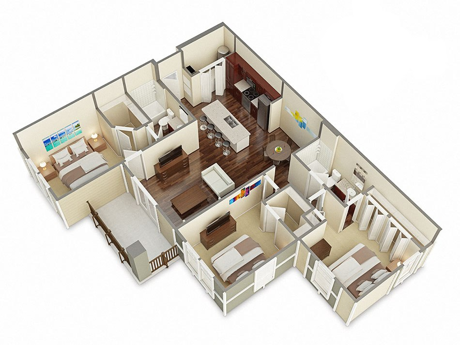 3D house floorplan with three bedroom by Tsymbals