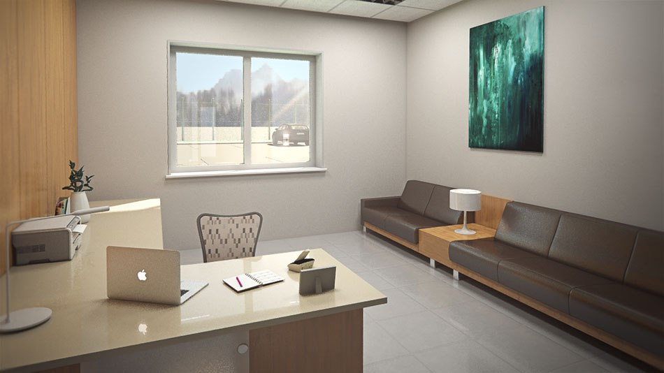 Factory 3D Visualization waiting hall by Tsymbals