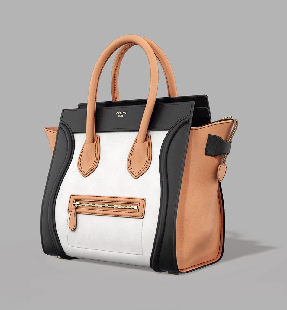 Celine Luggage Bag - model with black, white and brown by Tsymbals