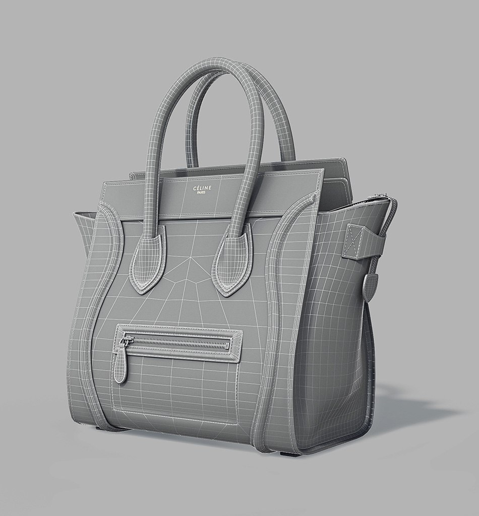 Celine Luggage Bag - 3d model in front by Tsymbals