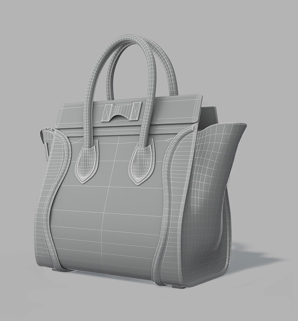 Celine Luggage Bag - 3d model back view by Tsymbals