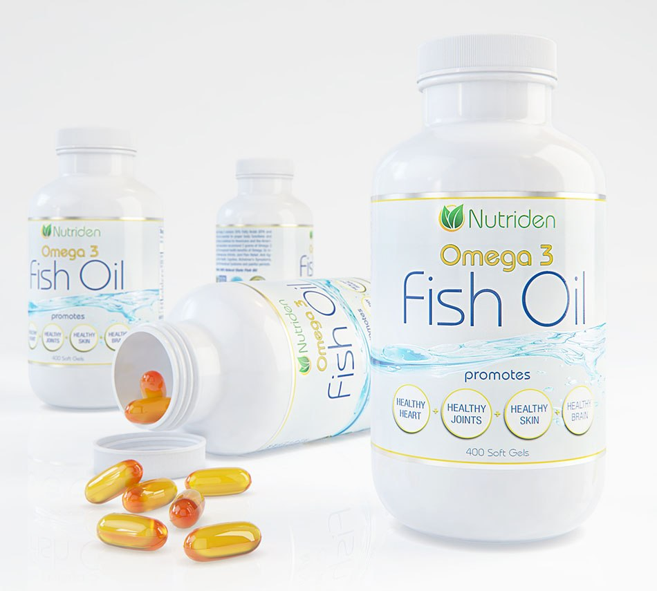 """Four bottles """"Fish oil"""" for magazine - 3d Photorealistic product presentation by Tsymbals"""