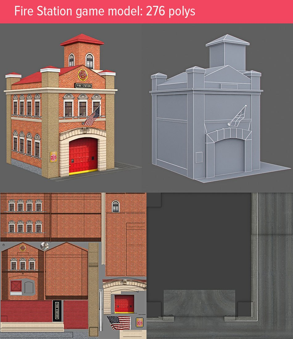 Download Fire Station low poly 3d game model by Tsymbals
