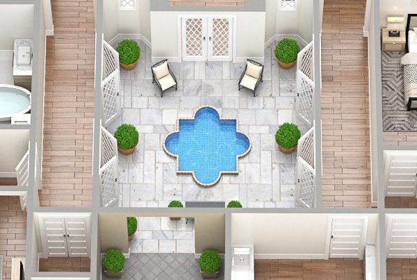Inner courtyard with the pool