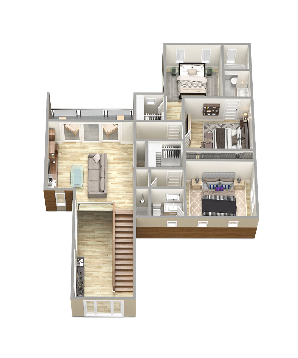 SawyerSound Addison 2nd floor 3D floorplan  by Tsymbals