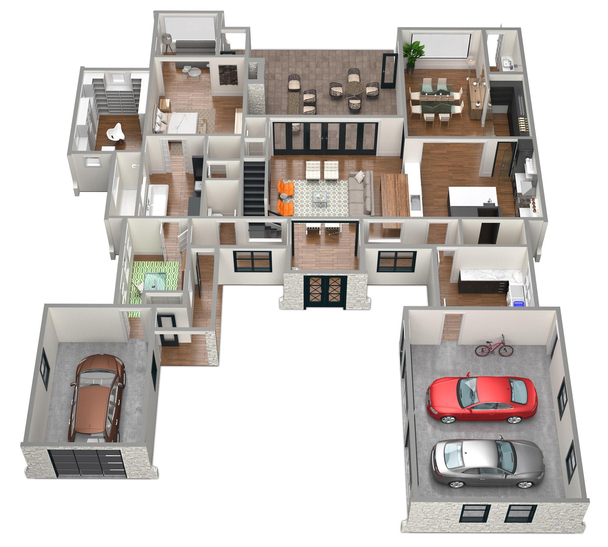 SawyerSound Sounding 1st floor 3D floorplan by Tsymbals
