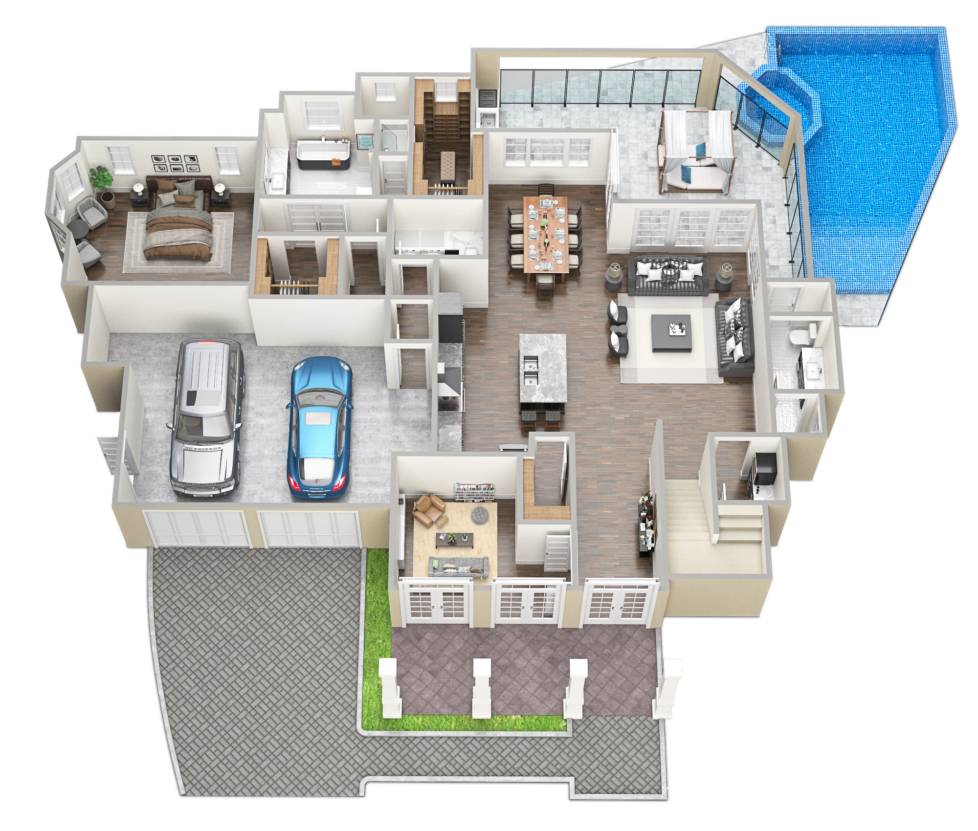 SawyerSound Weston 1st floor 3D floorplan by Tsymbals
