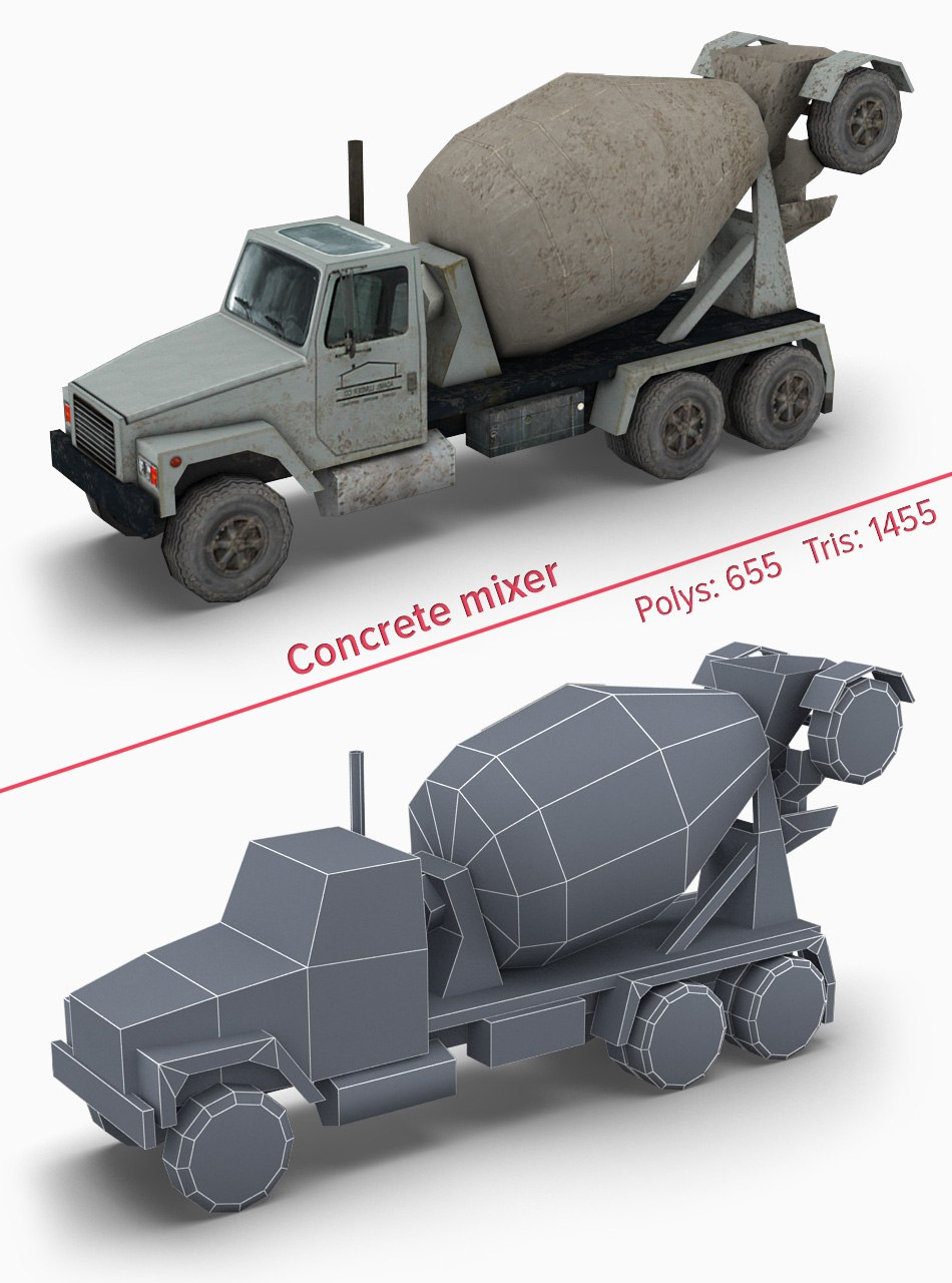 Concrene-mixer 3d game model by Tsymbals