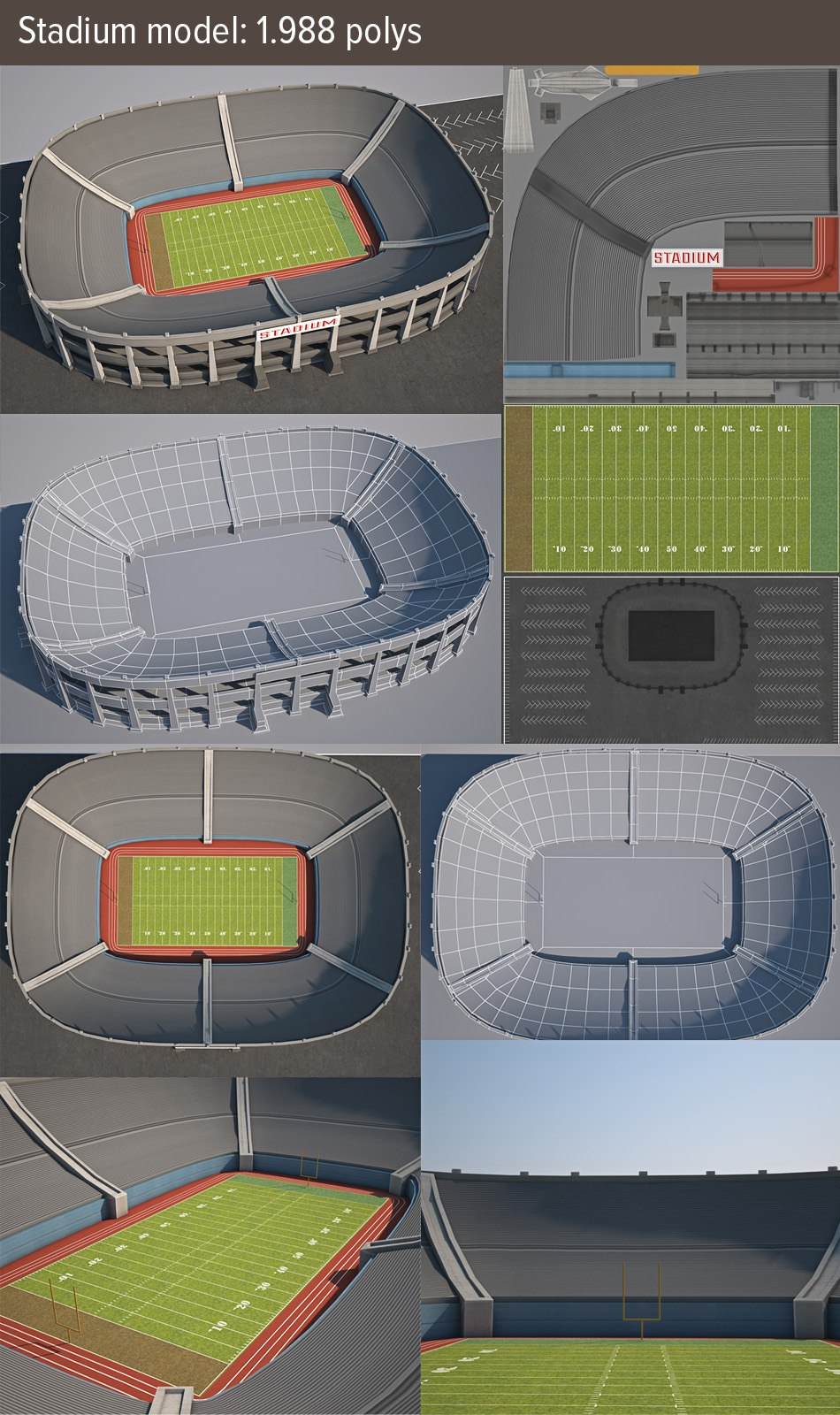 Download Stadium low poly 3d game model by Tsymbals