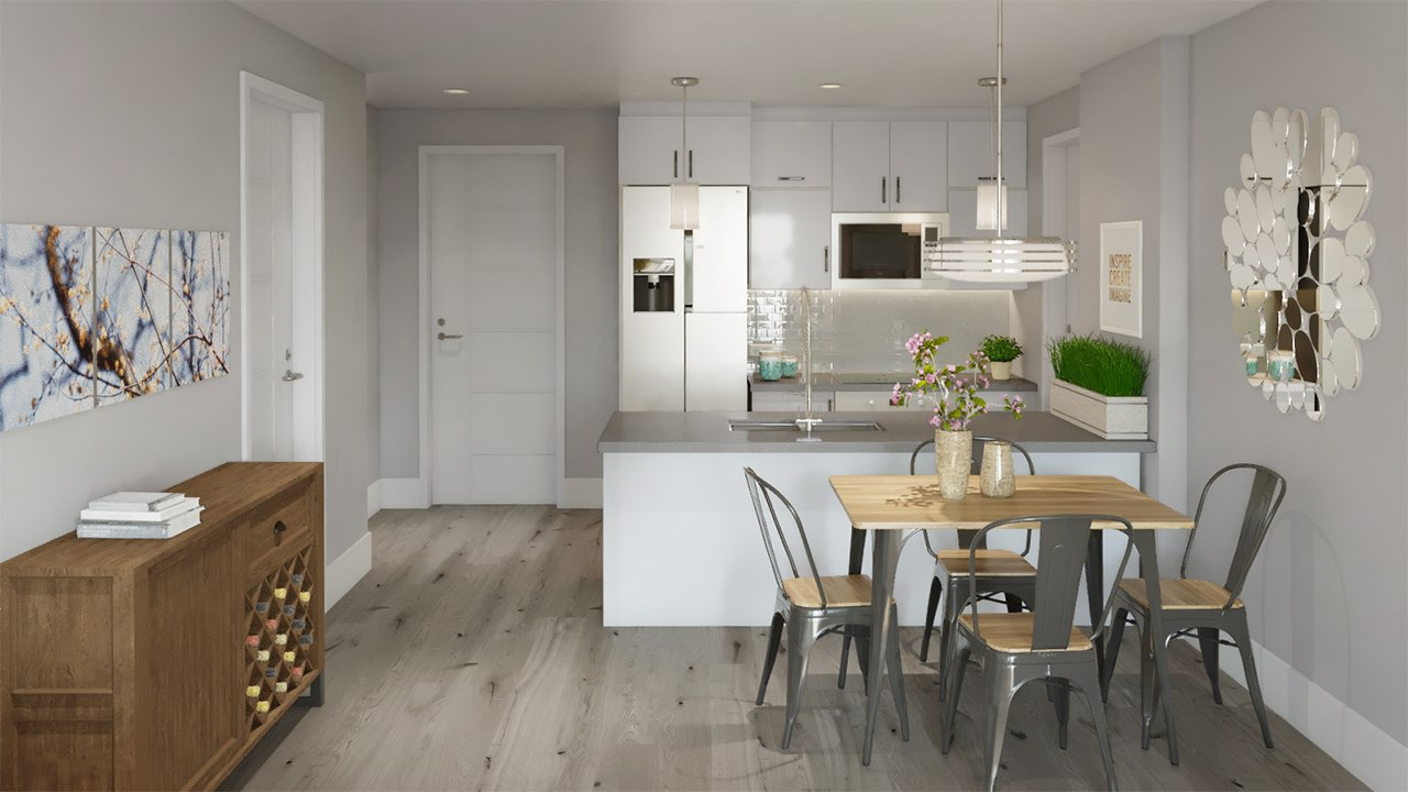 3D interior design kitchen with flower and a left-hand entrance by Tsymbals