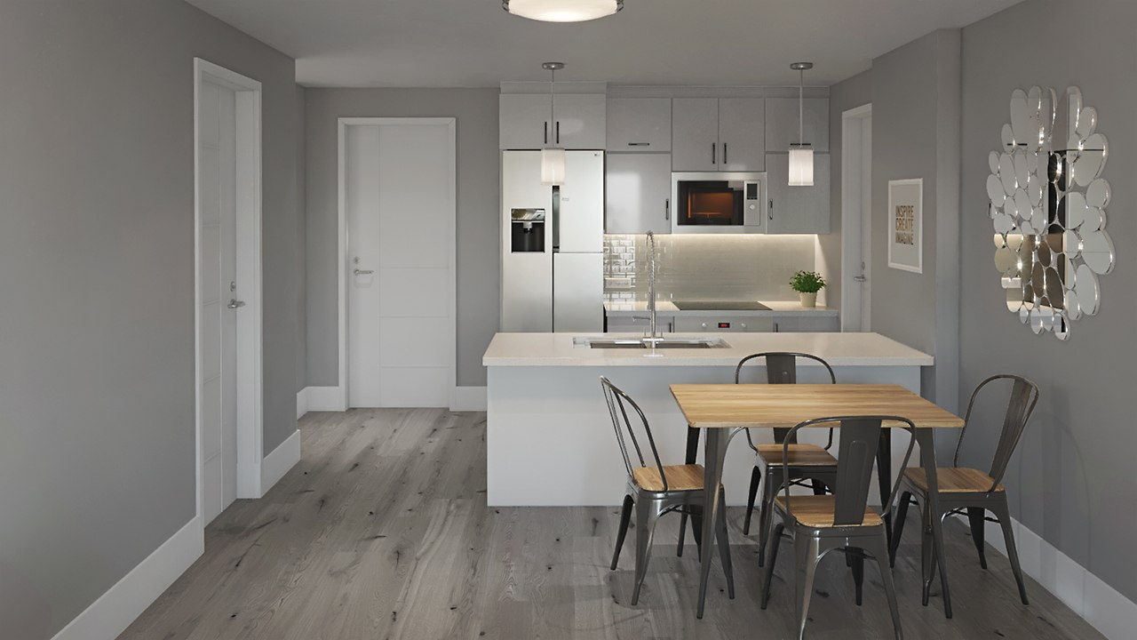3D interior design kitchen with a left-hand entrance by Tsymbals