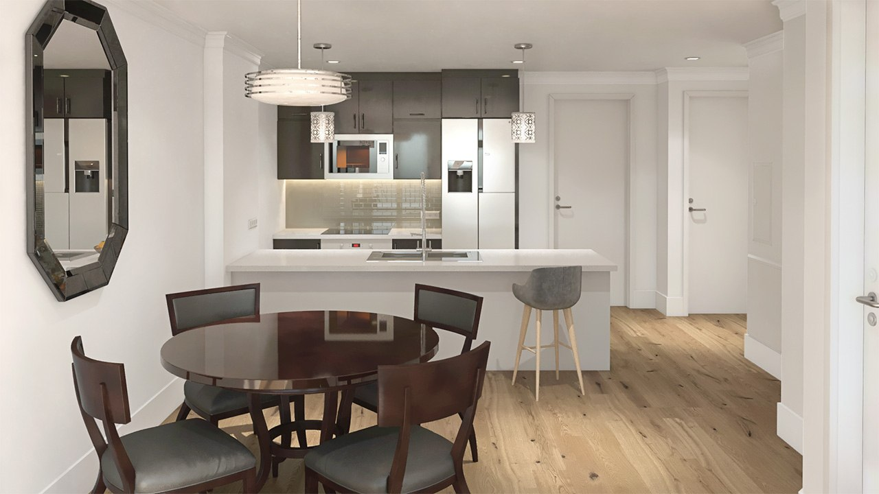 3D interior design kitchen with a right-hand entrance and mirror by Tsymbals