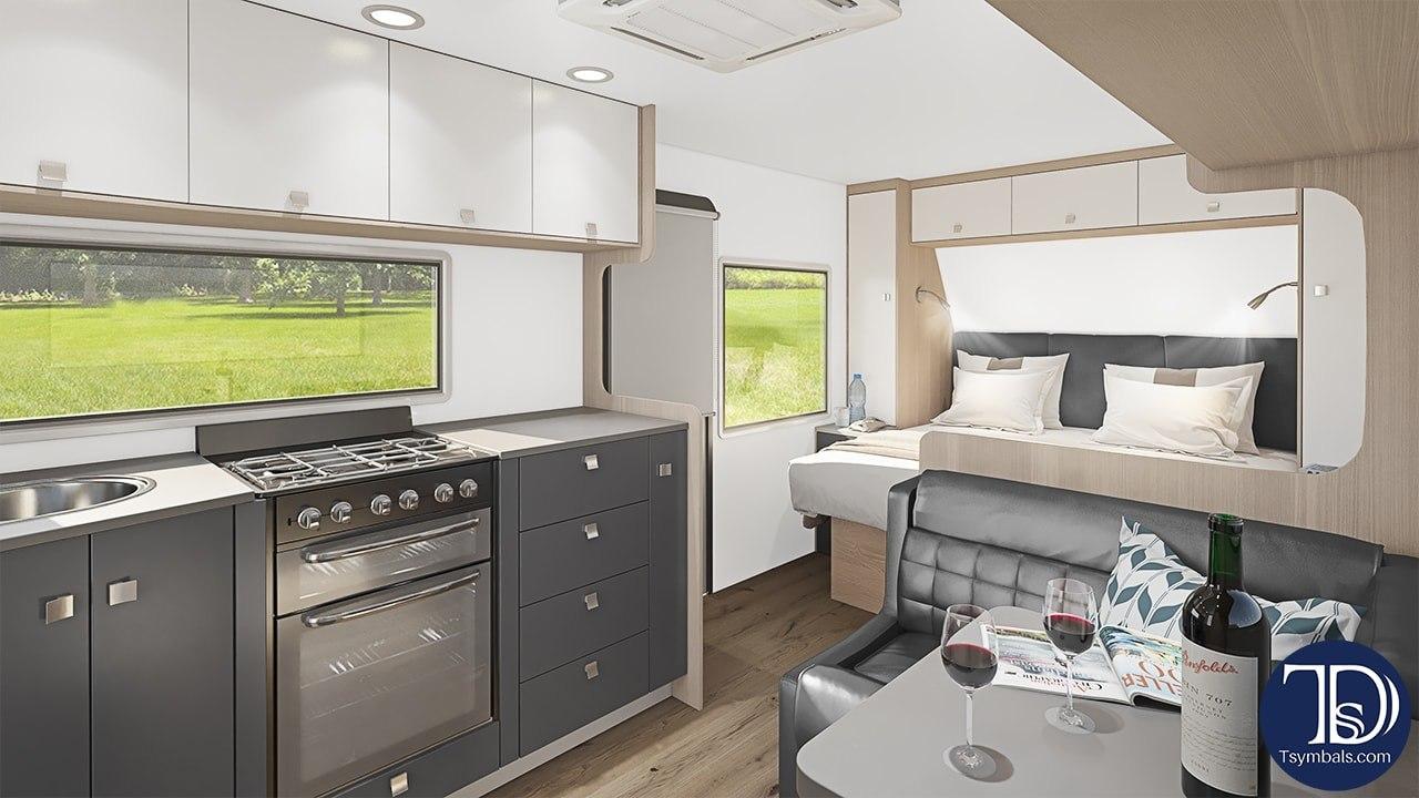 Van interior kitchen trailer visualization