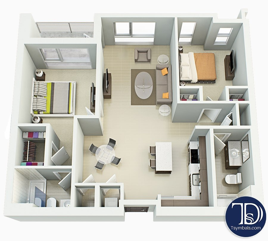 40d Floor Plans Design Tsymbals Design Adorable Floor Plan 2 Bedroom Apartment Style Painting
