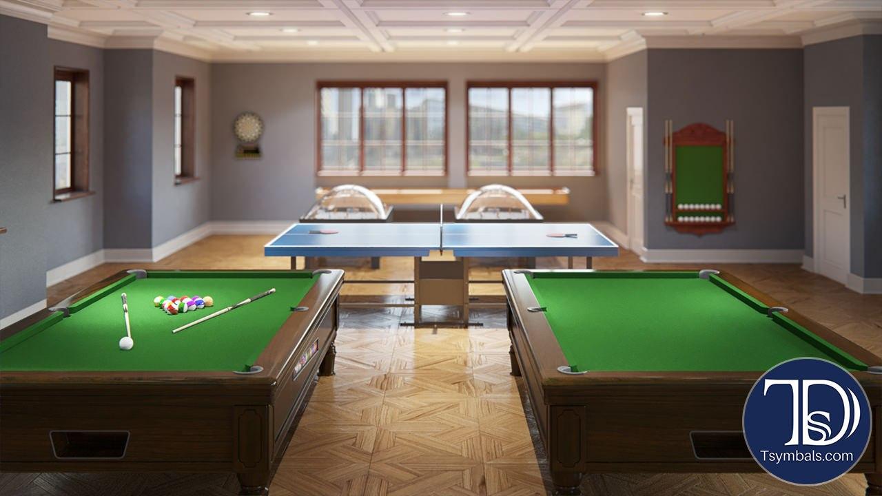 Game room interior 3D design rendering