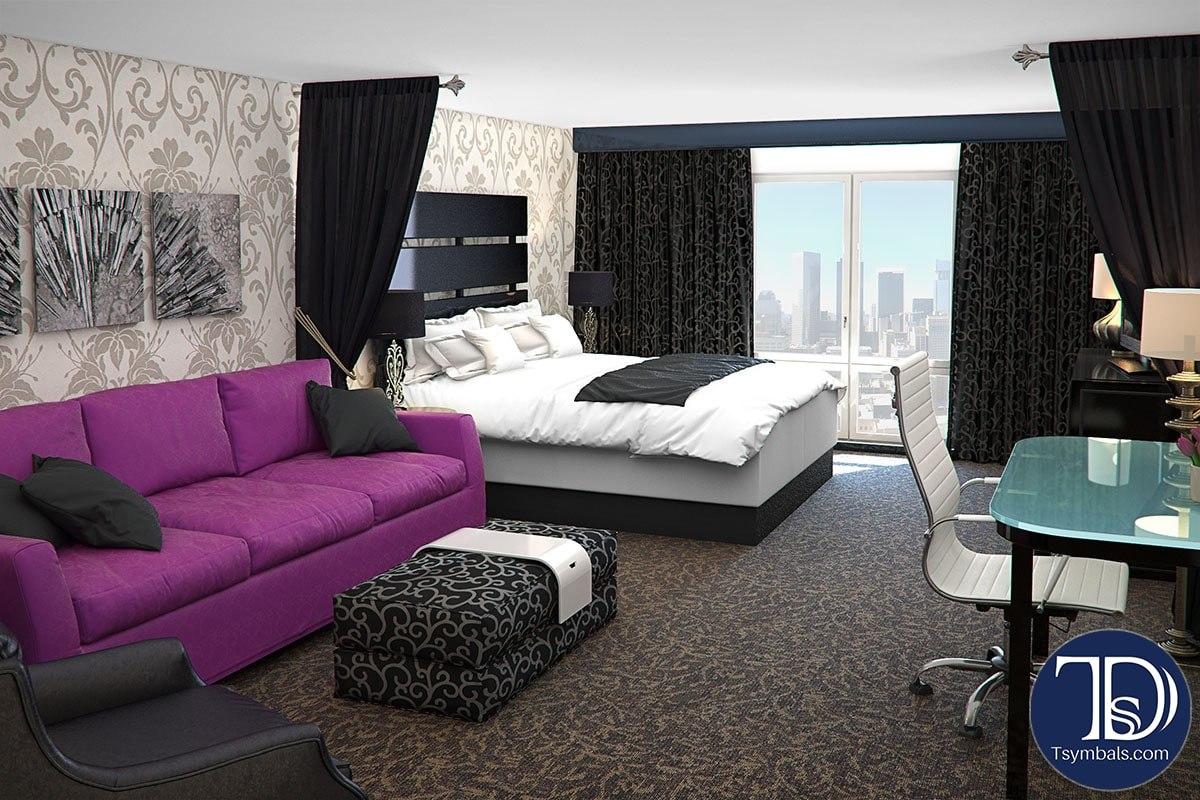 Hotel room 3D interior rendering