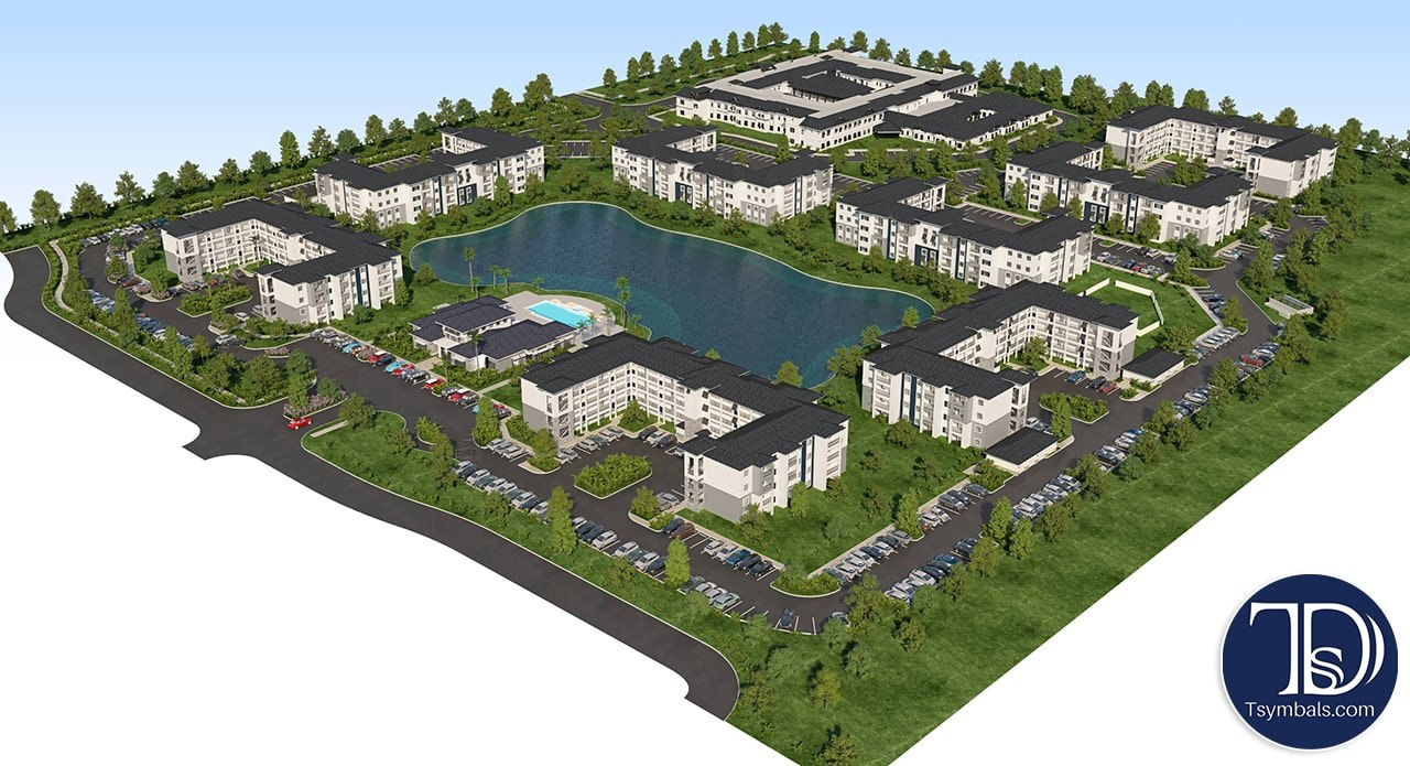 Site plan view 3D rendering