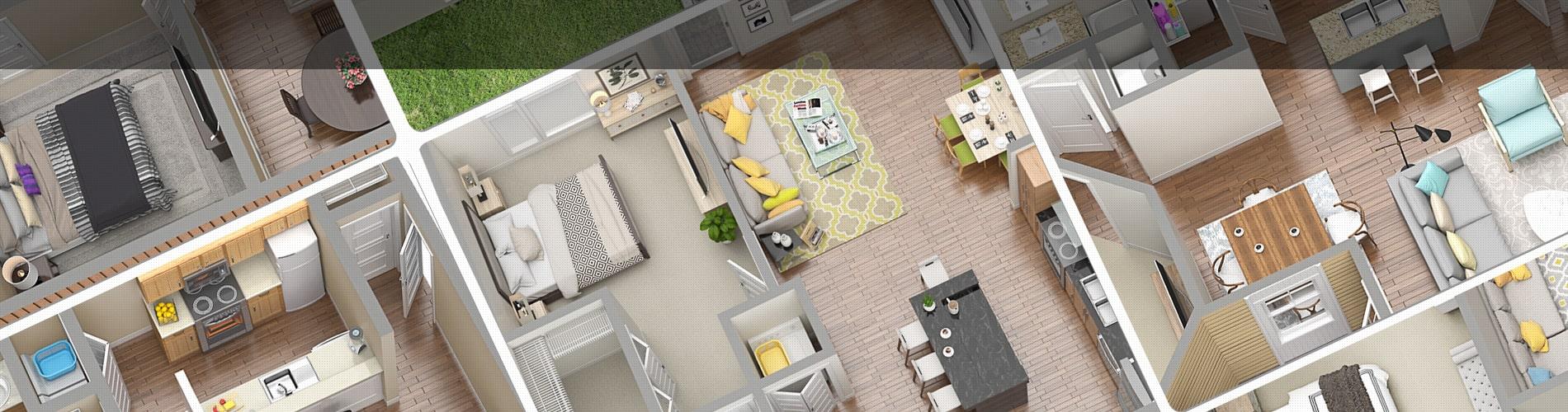 One bedroom 3D floor plans