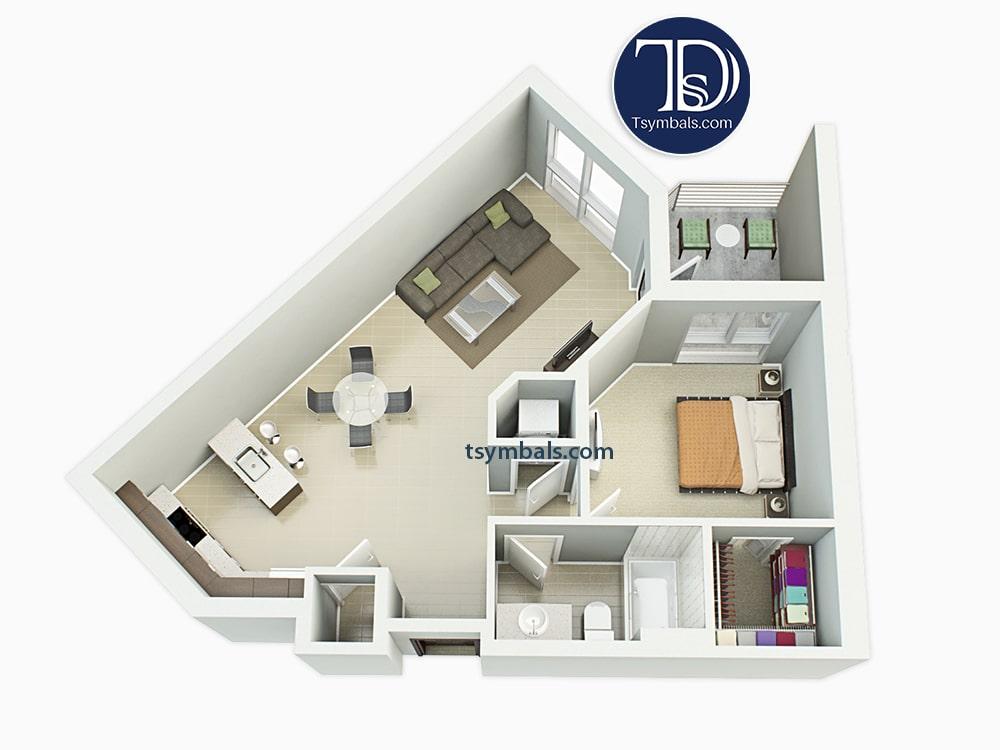 One bedroom apartment 3d floor plan furnished 1C