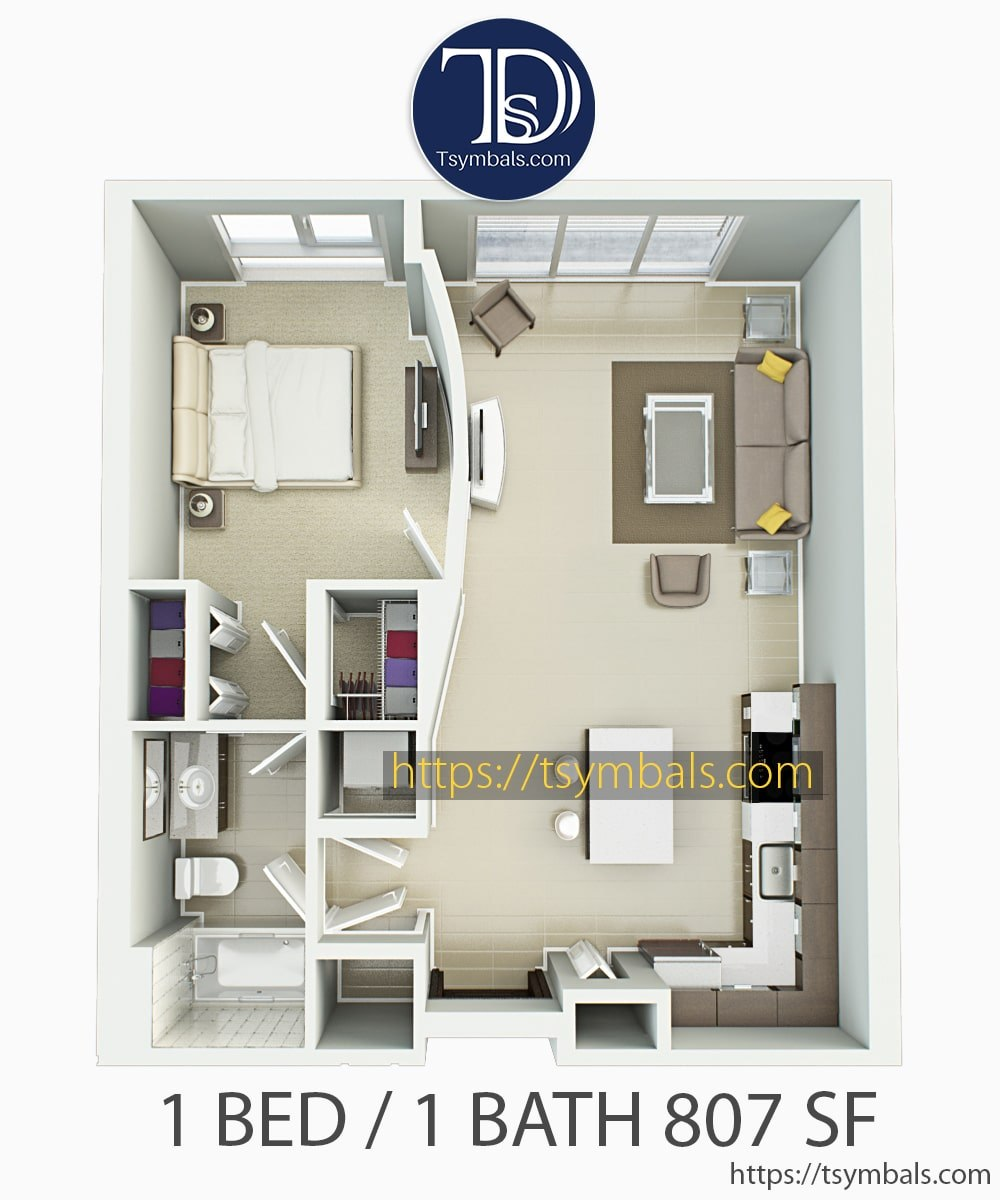 One bedroom apartment 3d floor plan furnished 1D