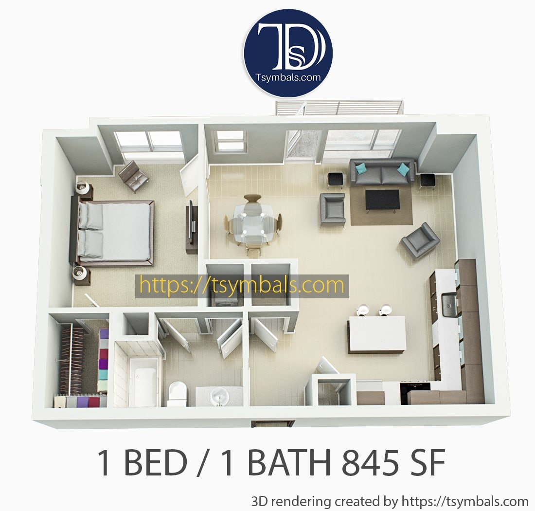 One bedroom apartment 3d floor plan furnished 1e