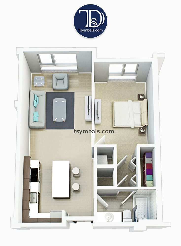 One bedroom apartment 3d floor plan furnished S2 min