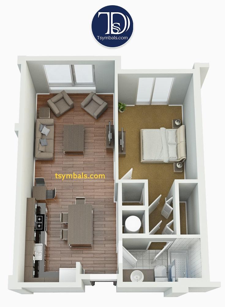 One bedroom apartment 3d floor plan furnished S2 v2 min
