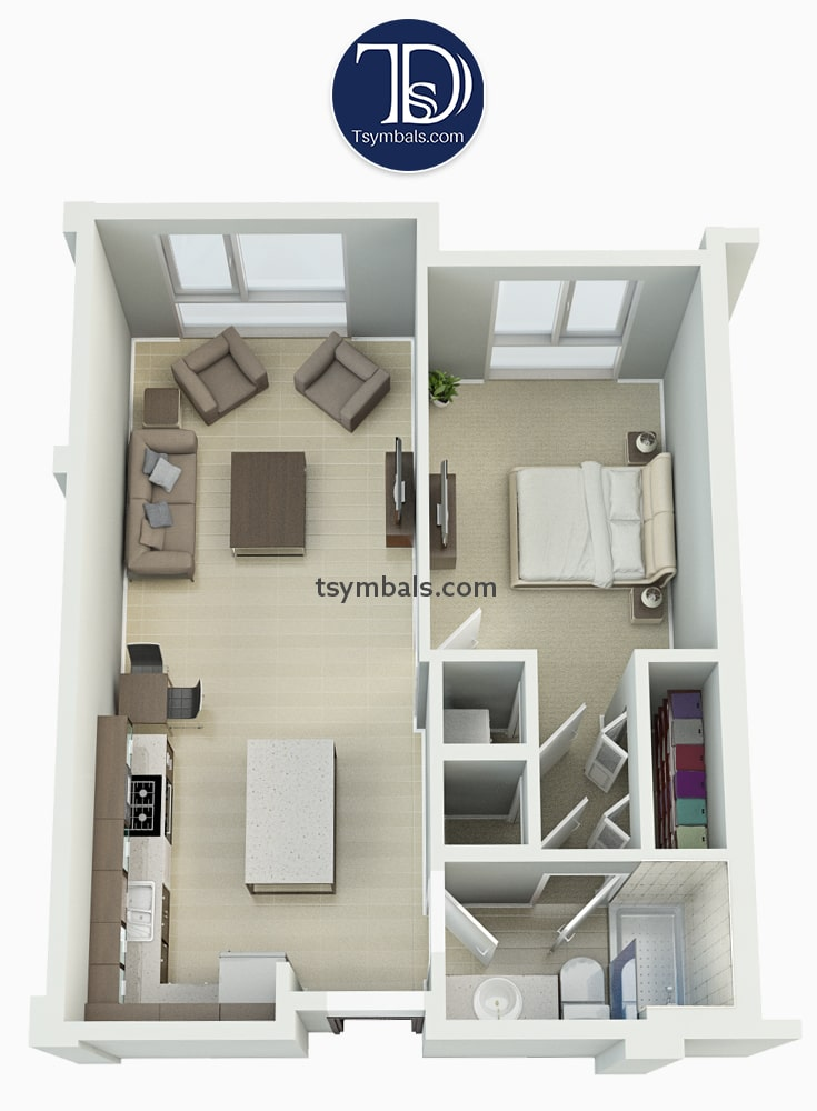 Modern one bedroom 3D floor plans 🏠 • Tsymbals Design
