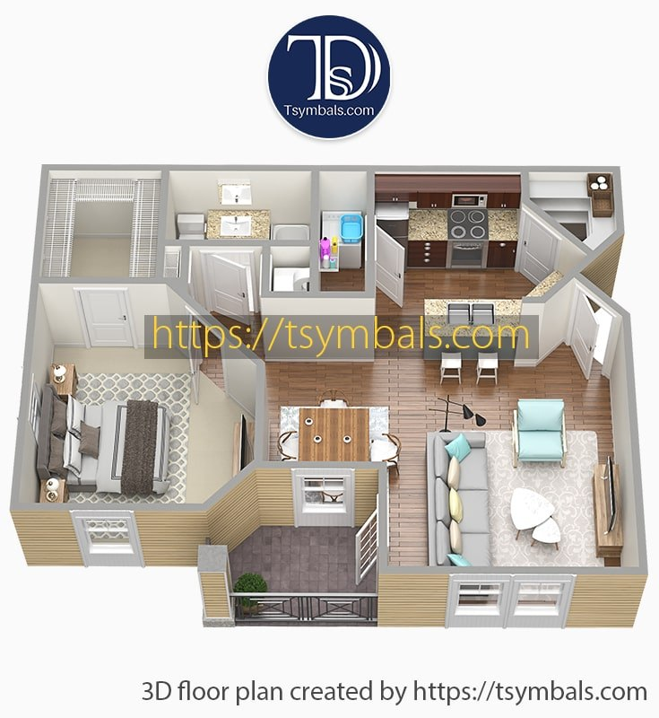 One bedroom apartment 3d floor plan furnished mosaic a1 min