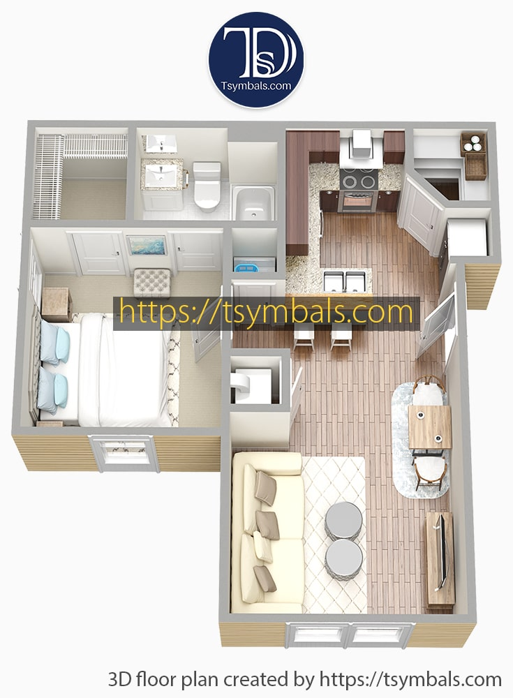 One bedroom apartment 3d floor plan furnished mosaic a2 min