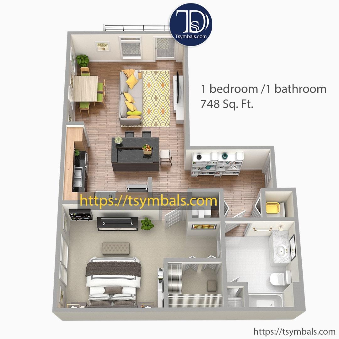 One bedroom apartment 3d floor plan furnished nolen a min