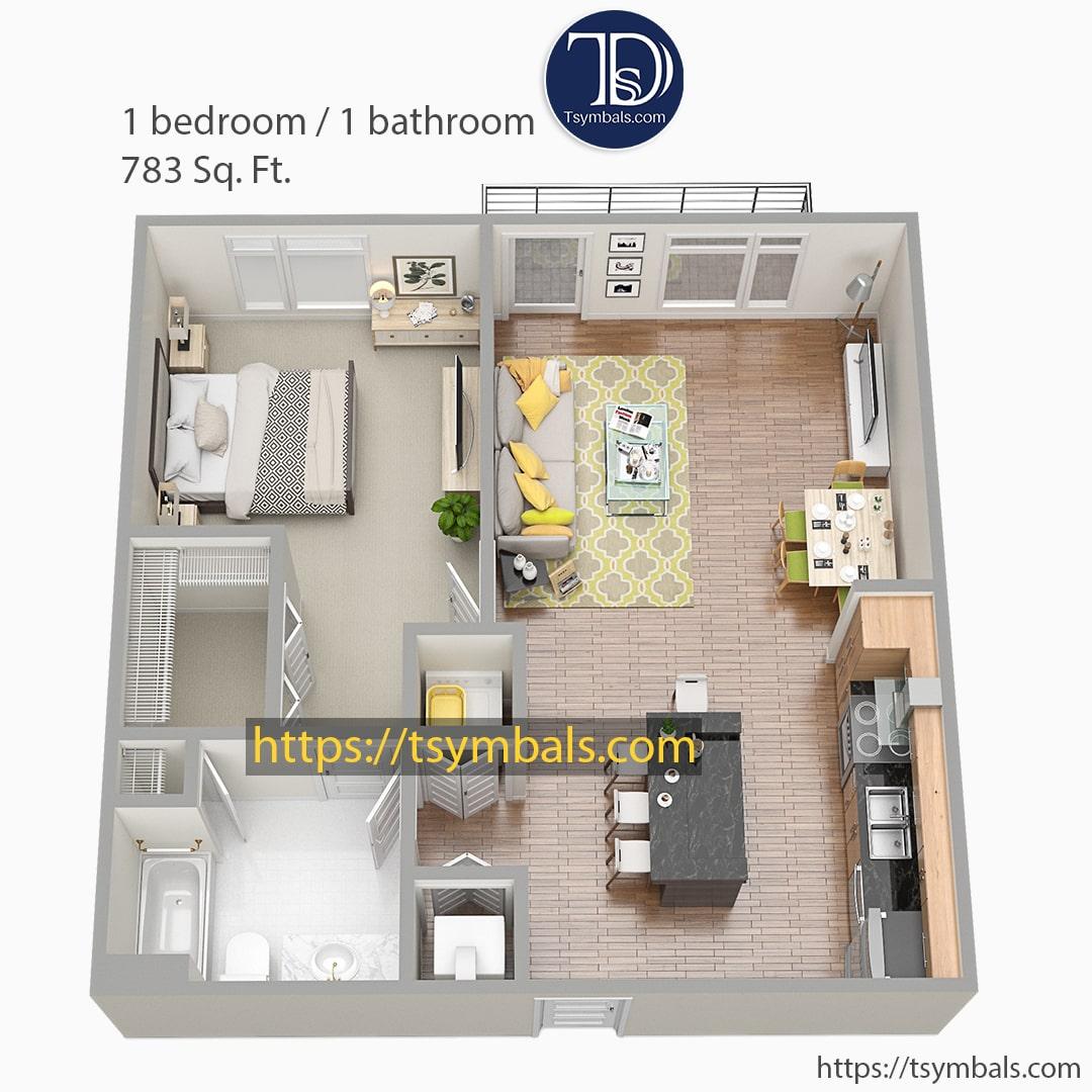 One bedroom apartment 3d floor plan furnished nolen b min