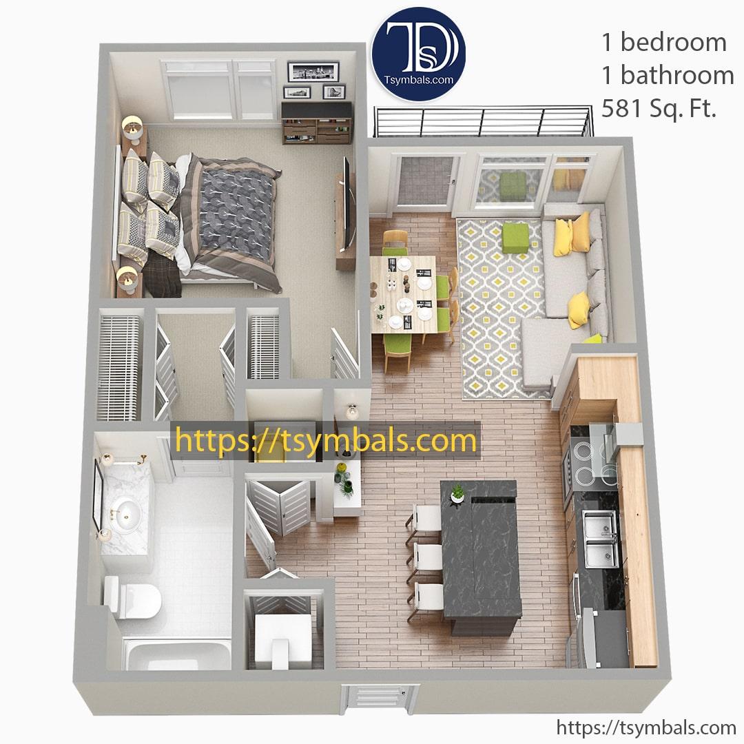 One bedroom apartment 3d floor plan furnished nolen c min