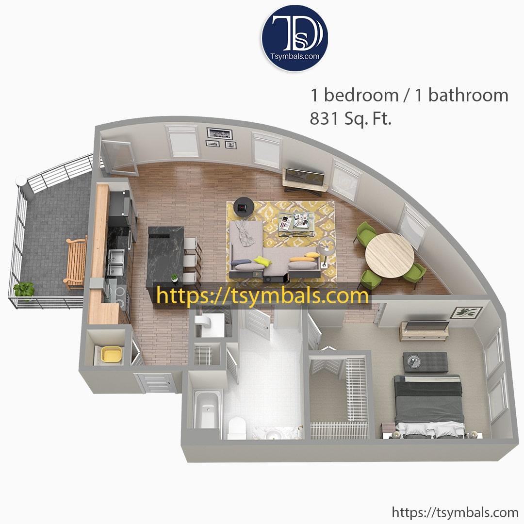 One bedroom apartment 3d floor plan furnished nolen e min