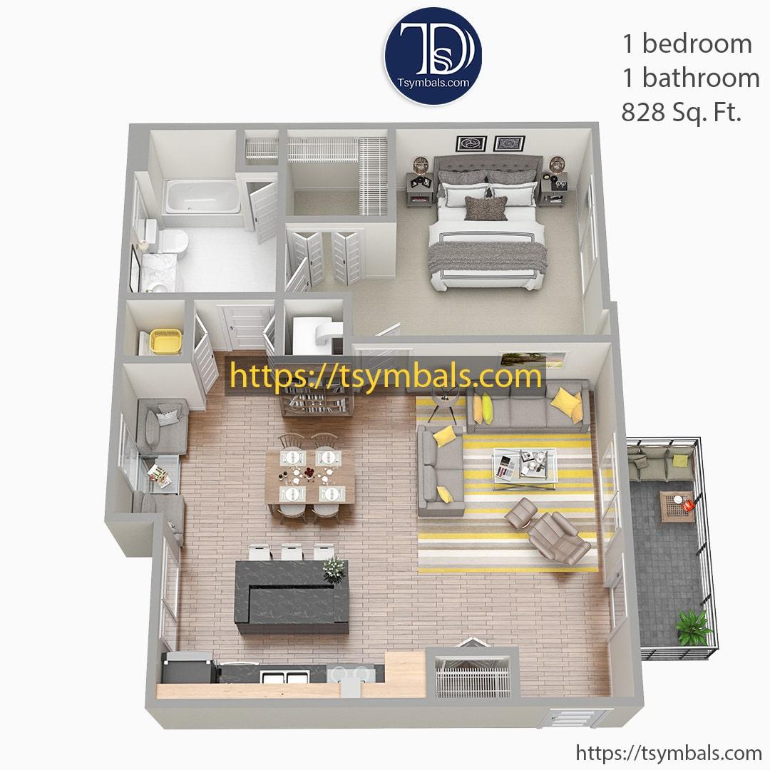 One bedroom apartment 3d floor plan furnished nolen f min
