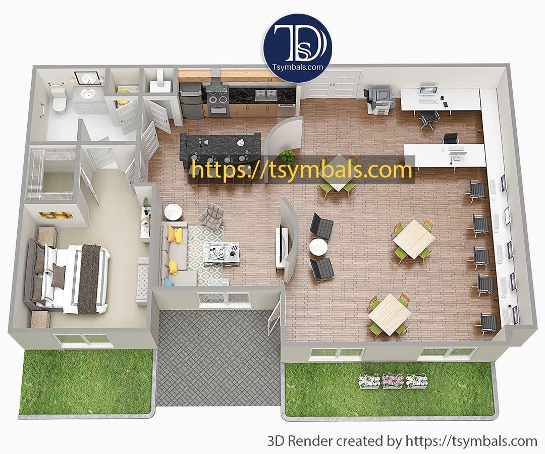 One bedroom apartment 3d floor plan furnished nolen working a min