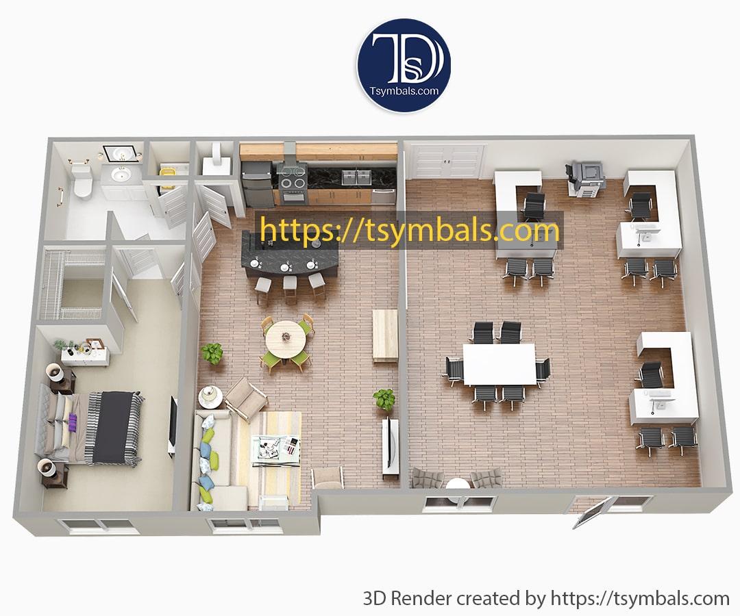 One bedroom apartment 3d floor plan furnished nolen working b min