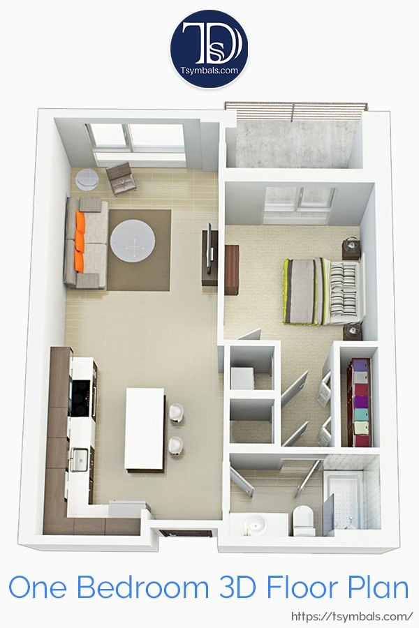 One bedroom apartment 3d floor plan furnished