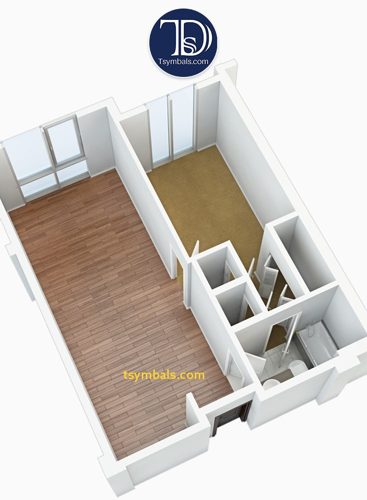 One bedroom apartment 3d floor plan perspective unfurnished2 S2 min