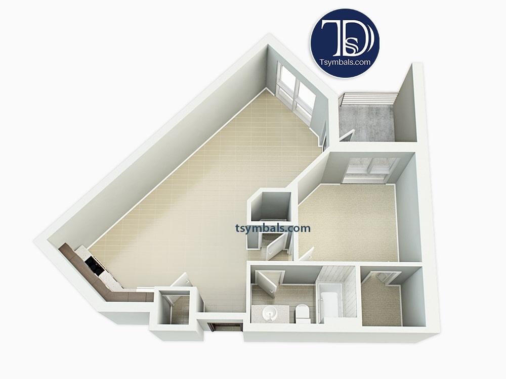 One bedroom apartment 3d floor plan unfurnished 1C 1