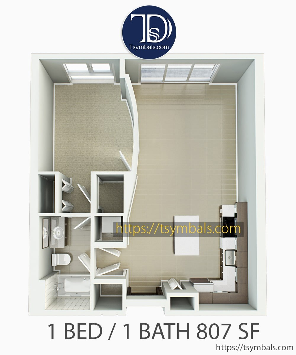 One bedroom apartment 3d floor plan unfurnished 1D
